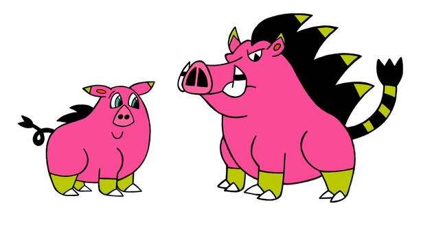 Shiny Oinklectro and Swinamo by Cameronwink
