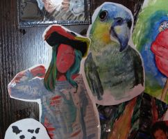 parrot on the shoulder of a pirate by Nataksa