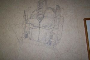 Optimus Prime on my wall by Saoni