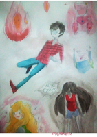 Adventure time watercolor dump by memmemn