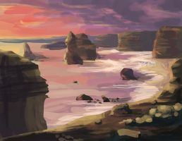 Landscape at Sunset Speedpaint by NRWalker
