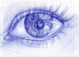 Eye sketch in biro by sharmz