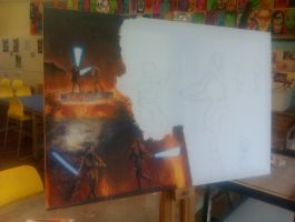 Anakin vs Obi-wan canvas WIP 2 by Galbatore