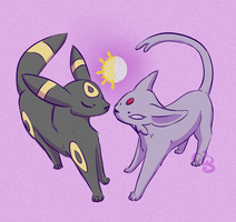 Umbreon and Espeon by typicallystrange