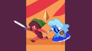 Ruby and Sapphire - Steven Universe and Zelda by RobTheArtGuy