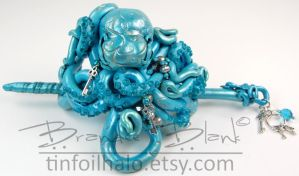 Octopus Hair Ornament in teal with Keys by TinfoilHalo