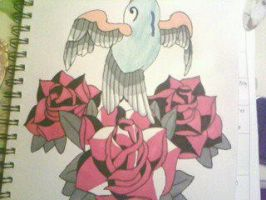 blue dove flying out of red roses by gbftattoos