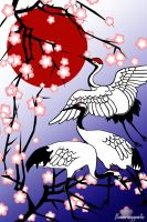 Cherry Blossom Crane by floweringgarlic