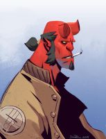 Quickie Hellboy Sketch by NorseChowder