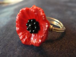 Silver band Poppy ring by alchemymeg