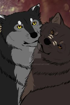 Cuddling wolves by LearaWolf