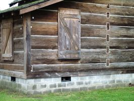 Old log house corner by JensStockCollection