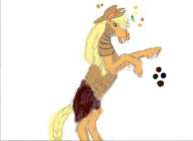 colorized Realistic Applejack Bucking progress by Pwnyville