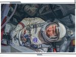 Astronaut Wally Schirra, and cramped Gemini craft by strib