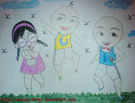 Upin, Ipin and Mei Mei by haiera