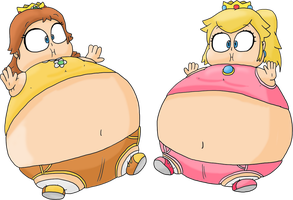 Peach and Daisy inflated (Olympic Games outfit) by JuacoProductionsArts