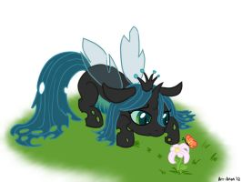 Chrysalis is a very cute pony by Elslowmo