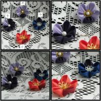 Flower Hair grips by kittykanzashi