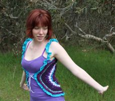 Blues Purples Crochet Vest 02 by Faeriegem