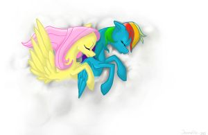 FLuttershy and Rainbow Dash, sleeping on a cloud by Alcorexic92