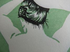Putting up her hair. woodblock print (detail) by JillianEdward