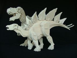 Stegosaurus and T-Rex by RamageArt