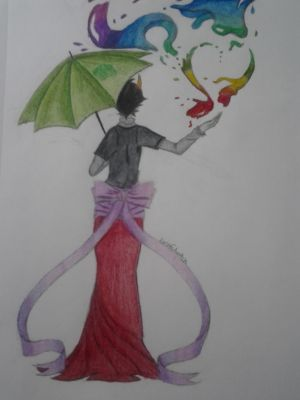Kanaya walking in the rain by bashfulwitch