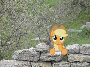 Applejack pondering at a wall by laopokia