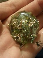 mosaic glass frog pin sparkly green by DevastationRises