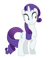 Rarity startled by FiMvisible