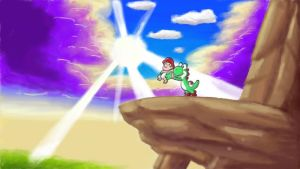Pride Rock, Yoshi, and a Baby Mario by upturnman