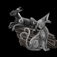 Umbreon and Espeon BW by Toyger
