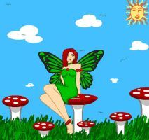 Irish Fairy and Toadstools by LavenderSeaFairy