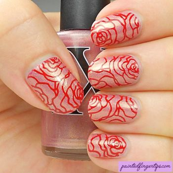 Red-rose-stamping by Painted-Fingertips