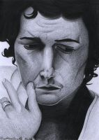 Orlando Bloom sad and leaning sketch- Early April by heath23windle