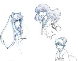 Inuyasha doodles by Moophles