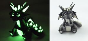 Black Glitter Glow In Dark Dragon by claymeeples
