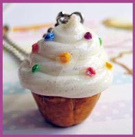 Sprinkled Cupcake Necklace 3 by cherryboop