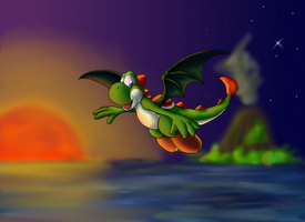 Yoshi - Dragon of the sunset by pikachu-25