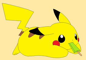 Pikachu and Ice Lolly by TearsThatStainMyEyes