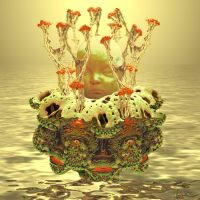 Fractals dreaming the head of a golden child by janhein