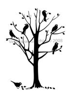 Black birds on tree by veronique-design