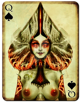 Playing Cards - Queen of Spades by cynthiafranca