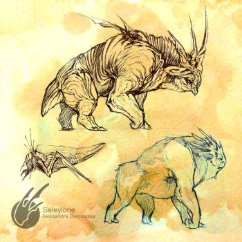 Creature Sketches 2 by Seleylone
