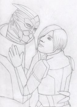 Garrus and Shepard WIP by knacc