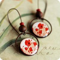 Red Poppies earrings by BeautySpotCrafts