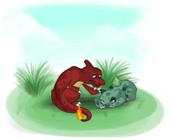Bulbasaur and Charmeleon by GeminiDoodle