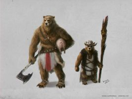 Bear warrior and priest by denikina-art