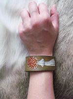 Fly Agaric leather cuff by CindarellaPop