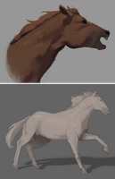 Horse paintings by xMangoTart
